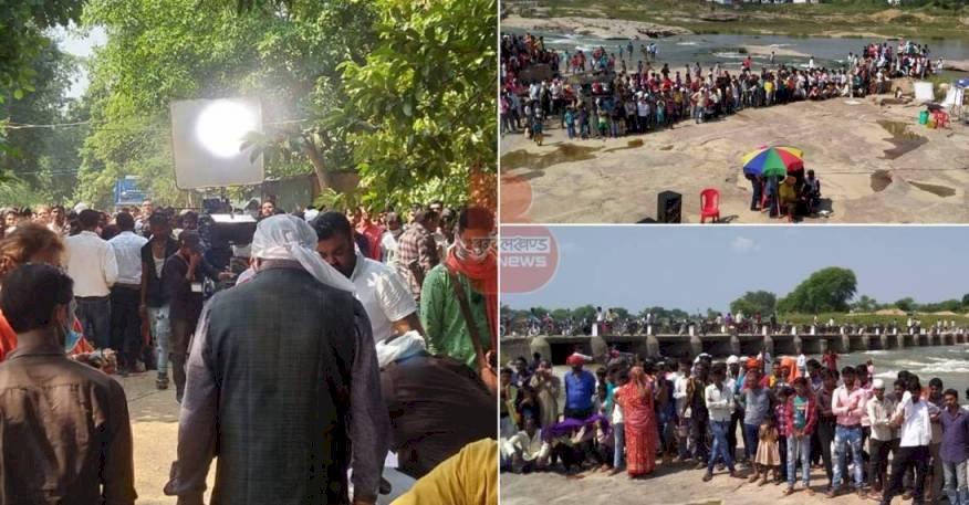 बाँदा : भोजपुरी फिल्म लिट्टी चोखा की शूटिंग देखने को मिल रहा मेले जैसा नजारा