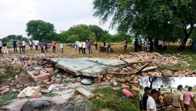 पक्के मकान और गोदाम में आतिशबाजी के पटाखों में विस्फोट, पूरा गोदाम ध्वस्त
